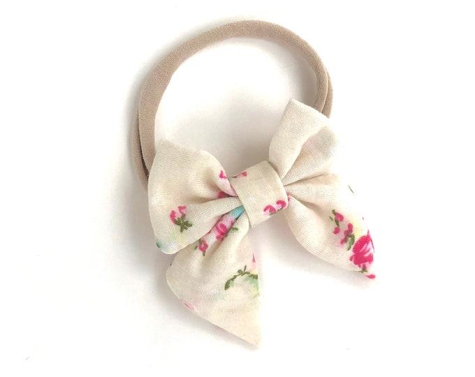 Off white baby headband - nylon headband, baby headband, baby girl headband, baby headband bows, newborn headband, baby bows