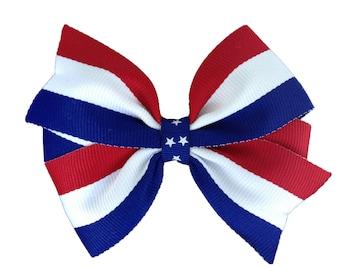 Fourth of July hair bow - hair bows, girls hair bows, girls bows, toddler bows, red white blue bows, baby bows, hair bows for girls, hairbow