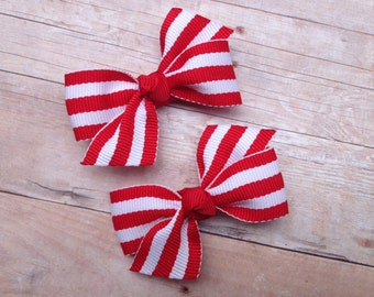 Red pigtail bows, hair bows, bows, hair clips, hair bows for girls, baby bows, baby hair bows, pigtail bows, toddler bows, hairbows, red bow