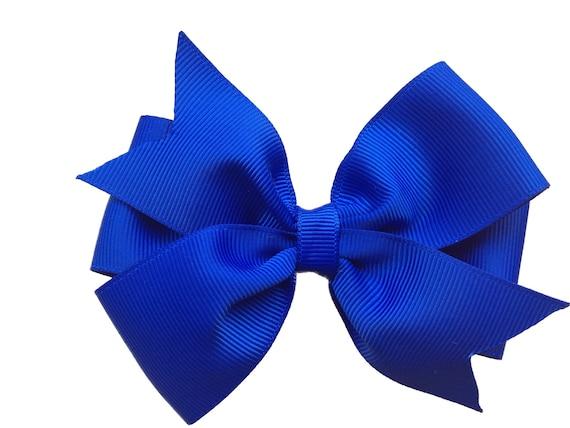 "Girls Set of 2 Satin Hair Bow Clips 3"" Long Royal Blue"