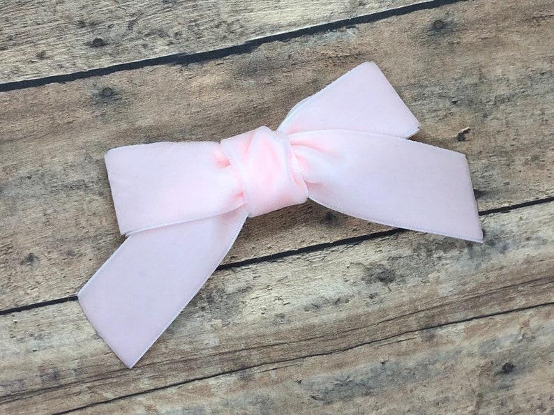 09bb273a5b1e9 Velvet hair bow - light pink bows, hair bows, hair clips, bows for girls,  baby bows, baby hair bows, baby hair clips, baby girl