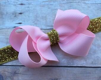 Baby headband - pink baby headband, baby headbands, baby bow headbands, newborn headbands, baby bows, baby headband bows, baby girl headband