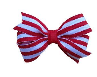 Red striped hair bow - hair bows, hair bow, bows, hair clips, hair bows for girls, baby bows, girls bows, hair clips for girls, hairbows