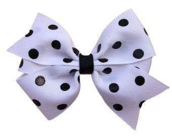Polka dot hair bow - hair bows, hair bow, bows, hair bows for girls, hairbows, girls bows, baby bows, toddler bows, big hair bows, hair clip