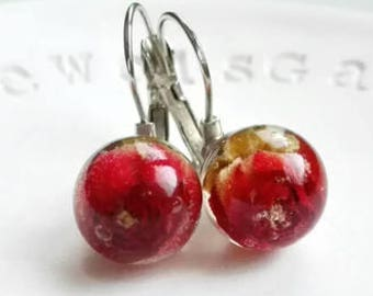Sphere earrings Anniversary gift for her Real red rose earrings Real flower earrings Nature jewelry mothers day unique gift for bridesmaid
