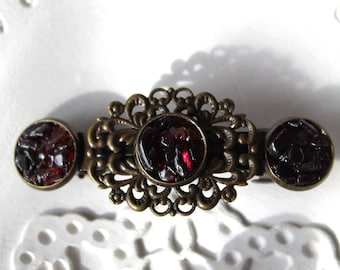 Copper Hair Clip for Women with Dark Red Garnet Stones and Brass Ox Rose Spray