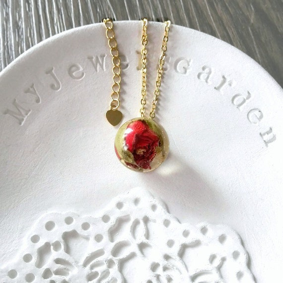 Gold filled necklace Red rose necklace Flower charm chain Real flower red rose pendant necklace Best gift for her birthday gift handmade