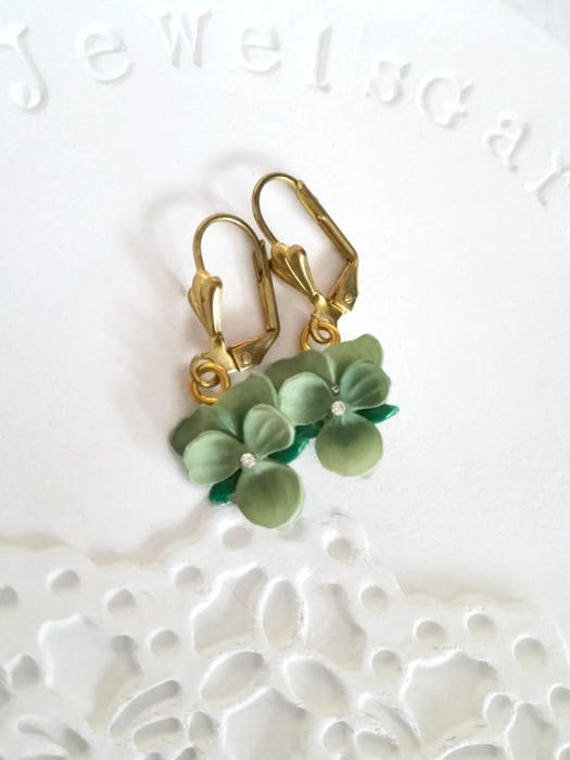 Pansy earrings green gift for wife pansies violet dangle earrings gold brass dainty pansy Vintage flower earrings Gift for grandma birthday