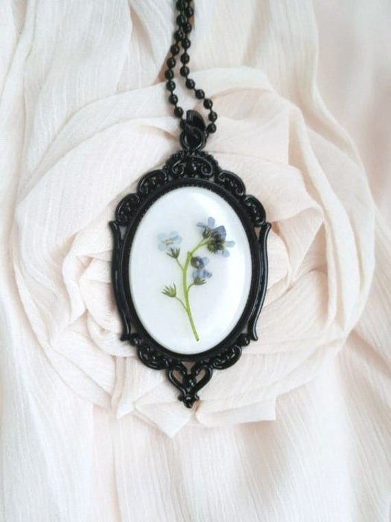 Gothic necklace statement necklace real flowers victorian necklace pressed flowers memorial pendant black mourning necklace gothic wedding