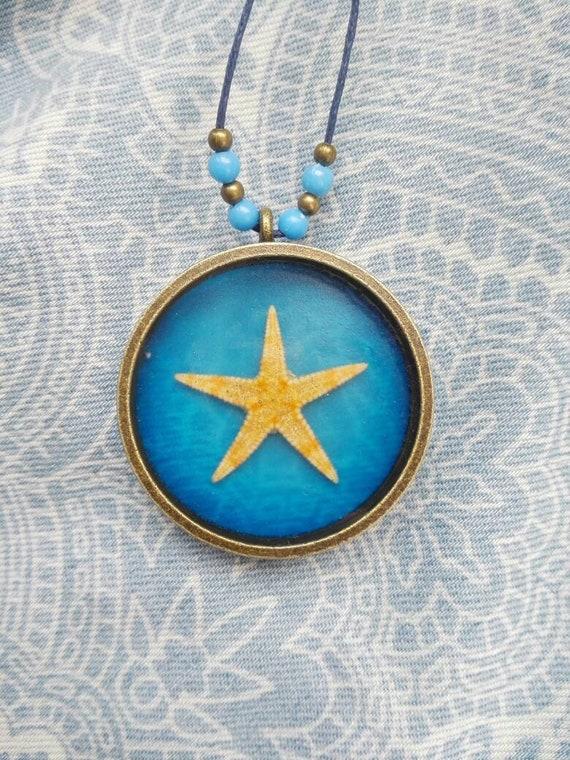Mermaid necklace star pendant Real starfish pendant Navy blue Ocean necklace Nautical gift Summer gift for bride boho pendant beach wedding