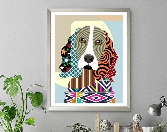 English Springer Spaniel,  Dog Print Pet Portrait Animal Poster