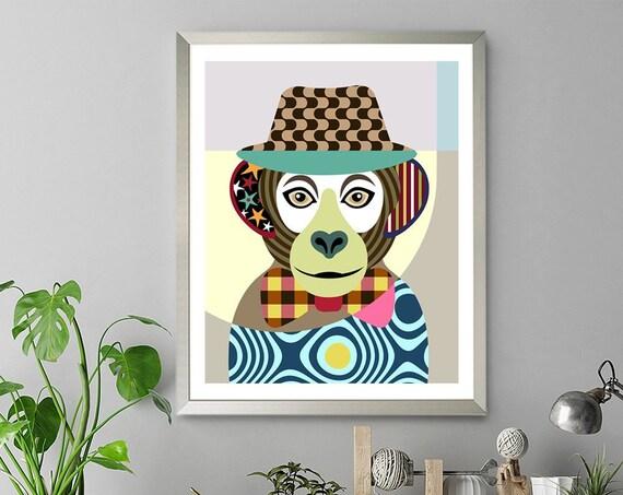 Monkey Artwork Painting, Jungle Animal Decor