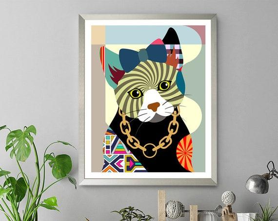 Cat Portrait Print Painting, Kitty Poster Art Kitten Decor