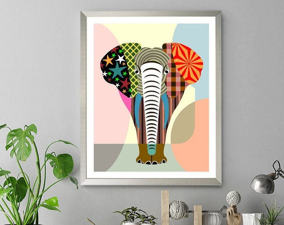 Elephant Artwork, Jungle Wild Animal Poster, Decor Pattern Painting