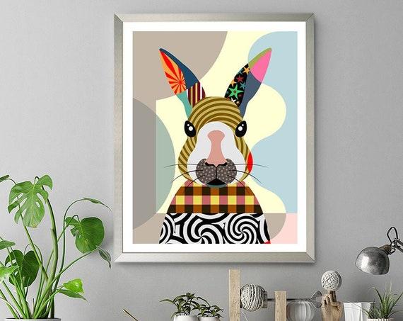 Bunny Art Print, Rabbit Poster Cute Animal Print