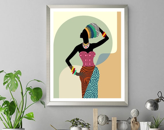 African Woman Wall Art, Black Girl Gift Home Decor