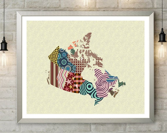 Canada Map, City Decor Geometric Design Cubist Art