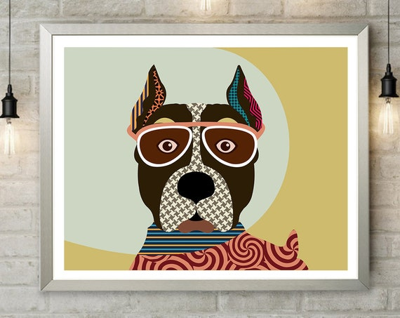 AmStaff Art, American Staffordshire Terrier Hipster Dog Pet Portrait