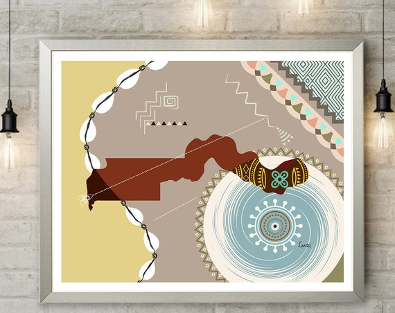 Gambia Art Map Print Wall Decor, Banjul  West African Design Poster