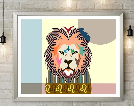 Leo Zodiac Art Poster, Constellation Astrology Star