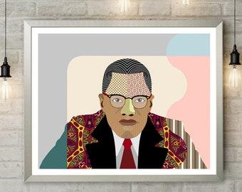 Malcolm X Wall Art, Civil Rights Activist African American Social Activist, Black History Month