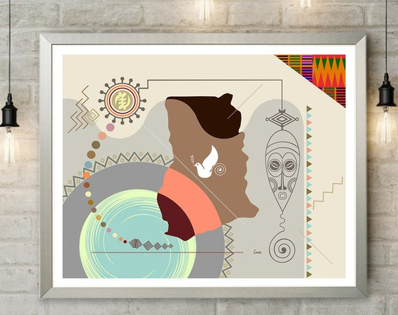 Ghana Map Wall Art, Accra West Africa Kente Print Country Home Decor