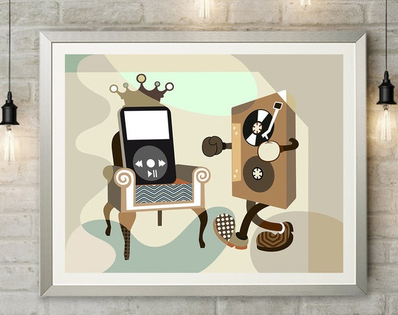 Retro Funny Music Decor, Cassette Tape Art