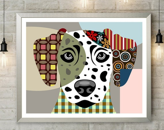 Dalmatian Art Print, Dog Pet Portrait Pop Art Animal Lover Poster,