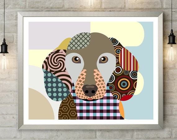 Dachshund Art Print, Dog Portrait Pet Painting