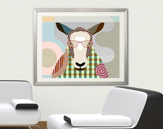 Sheep Artwork Print, Farm Animal Decor Painting