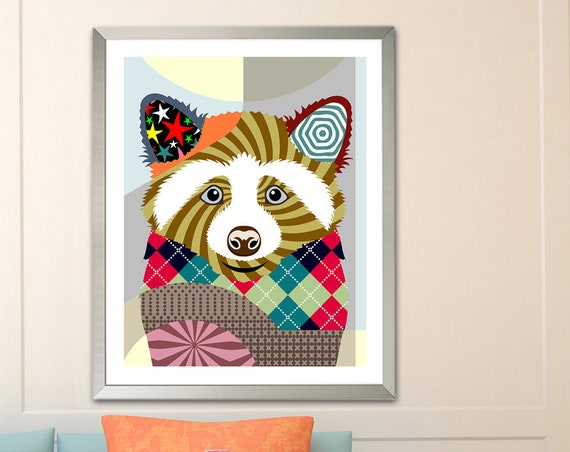 Raccoon Rodent Animal Art Print Poster Wall Decor