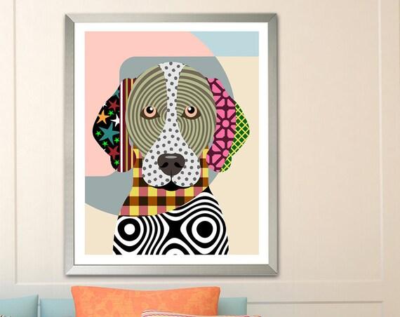 German Shorthaired Pointer Art, GSP Dog Painting Pet Portrait Puppy Decor