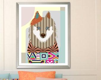 Samoyed Art Dog print, Pet Portrait Painting