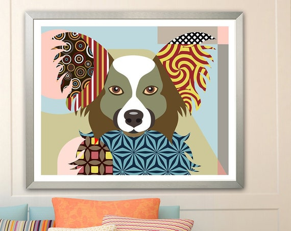 Papillon Dog Art Print Poster, Pet Portrait