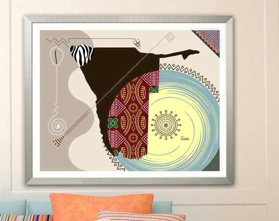 Namibia Map Art, Windhoek Print South African Decor