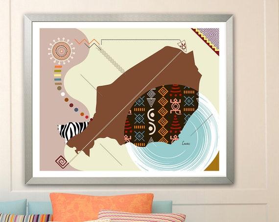 Niger Map Art, Niamey West Africa Decor Poster