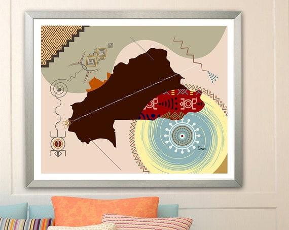 Burkina Faso Map Print Ouagadougou West African Design Poster