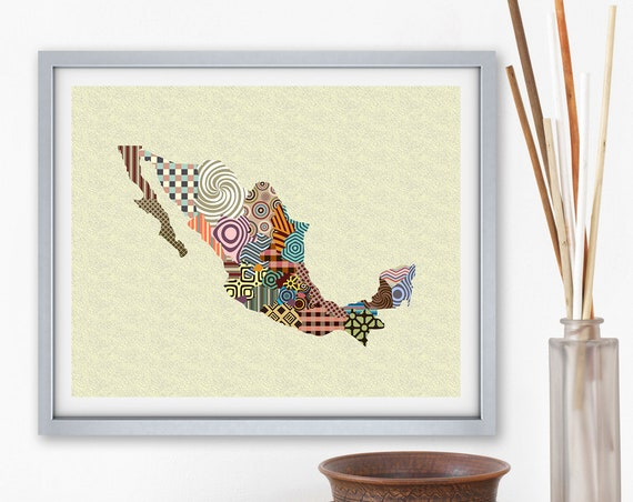 Mexico Map Art Print, Abstract Modern Painting