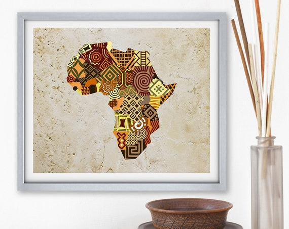 African Map Art, African Print Map Decor, African Wall Art, African Wall Decor, African Shop, Afrocentric Art