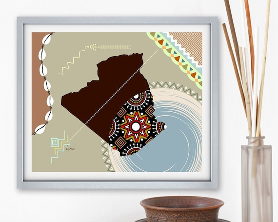 Algeria Map Art, Algiers North Africa Decor Poster