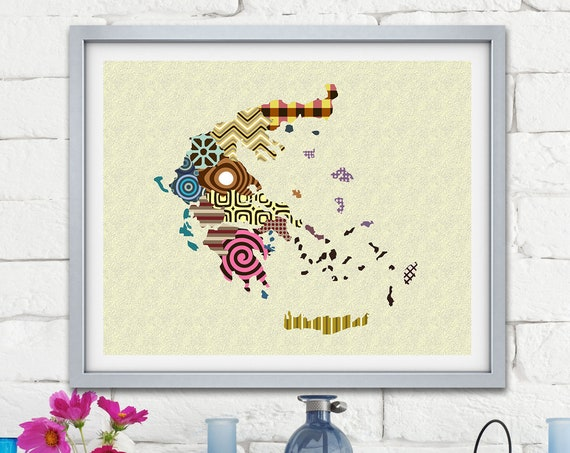 Greece Map Art Print Travel Poster, Athens City Balkans Gift Painting