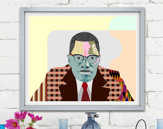 Malcolm X Wall Art,  Black History Month, Civil Rights Activist African American Social Activist