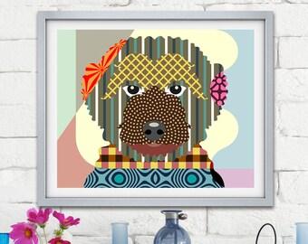 Golden Doodle Art Dog Print, Pet Portrait Animal Painting Puppy Decor