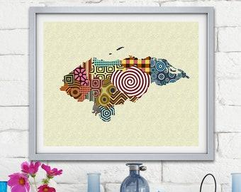 Honduras Map Print Poster, Tegucigalpa Latin America South America Decor
