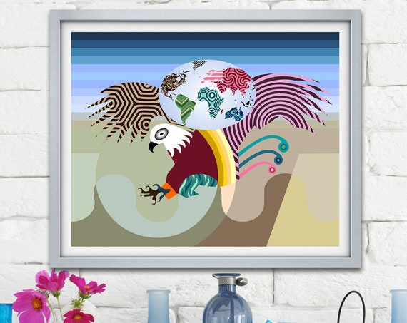 Eagle Art Print Painting, Bald Eagle Abstract Bird Poster