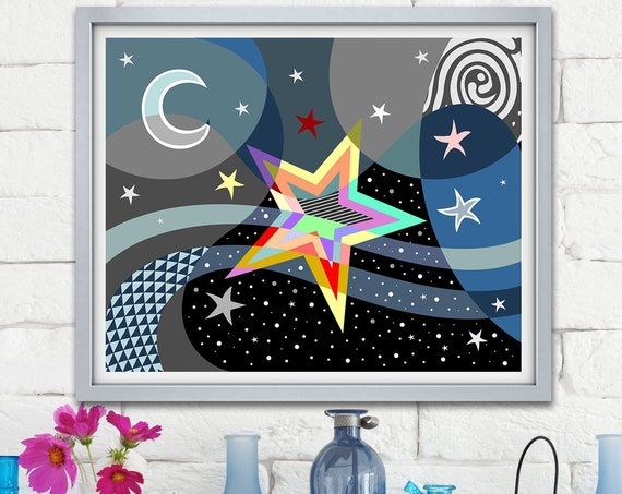 Star Art Print Poster, Abstract Moon Painting