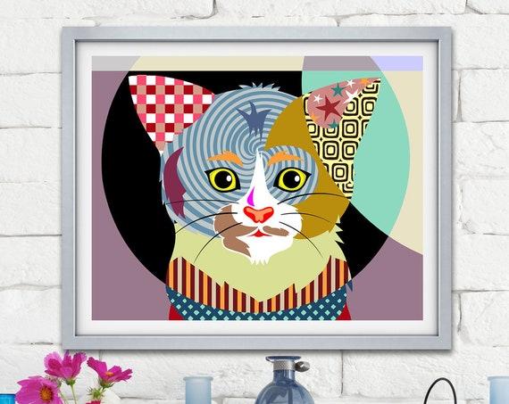 Cat Art Print Kitten Decor, Pet Portrait Poster Animal Lover Gift