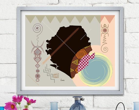Sierra Leone Map Art, Freetown West African Painting