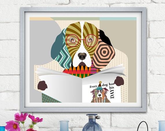 Beagle Poster, Funny Dog Art Pet Portrait Canine Design