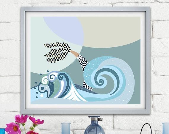 Abstract Seascape, Ocean Painting Palm Tree Art Sea Artwork